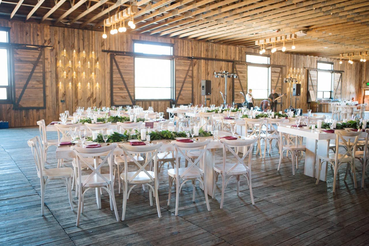 Interior view of the Arena at Blue Sky, set for a wedding reception.