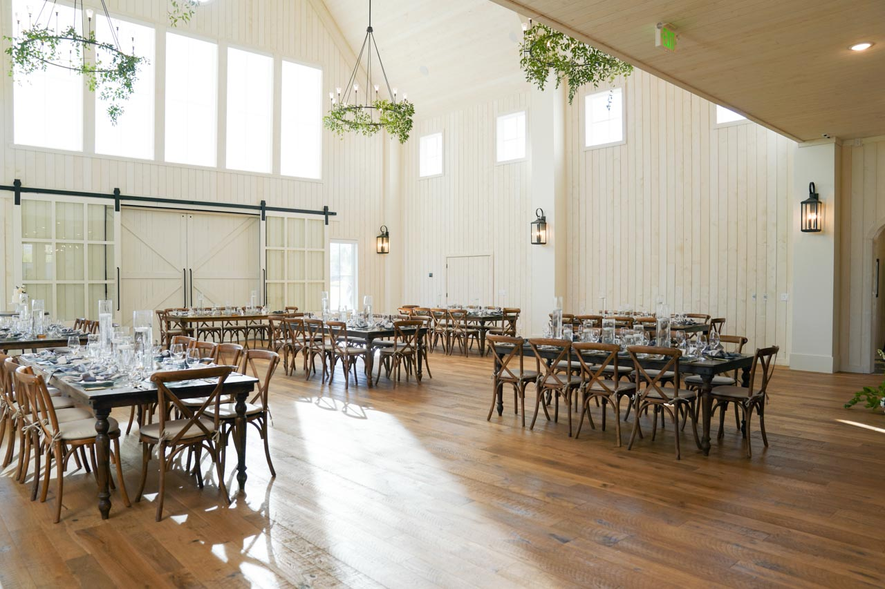 River Bottoms Ranch light and airy wedding venue interior.