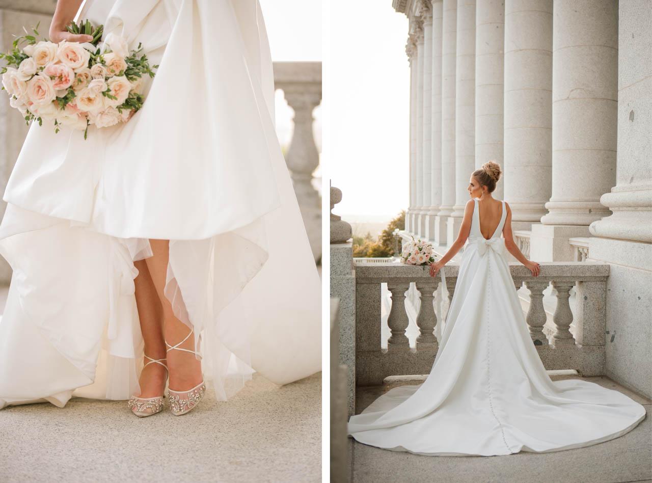 Bride in elegant gown at the Utah State Capitol.