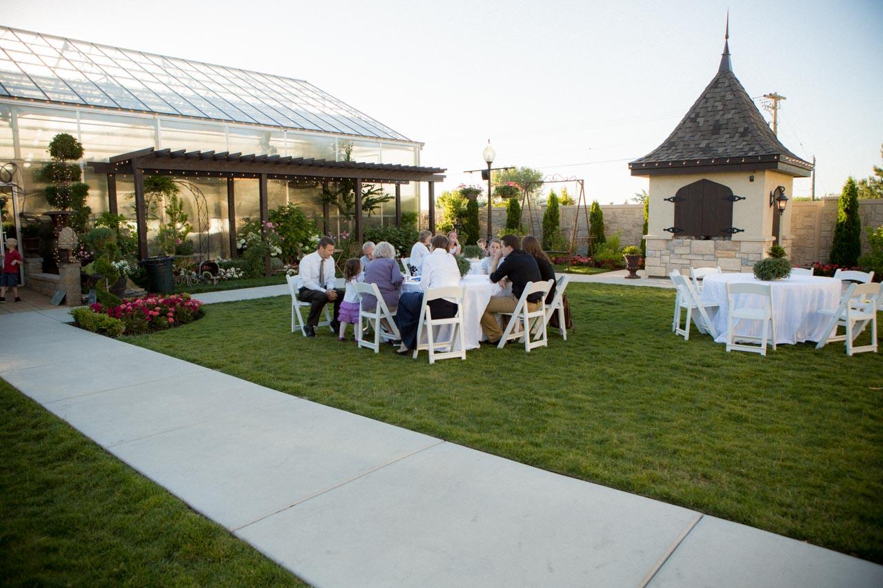 Outdoor seating at Le Jardin wedding venue.