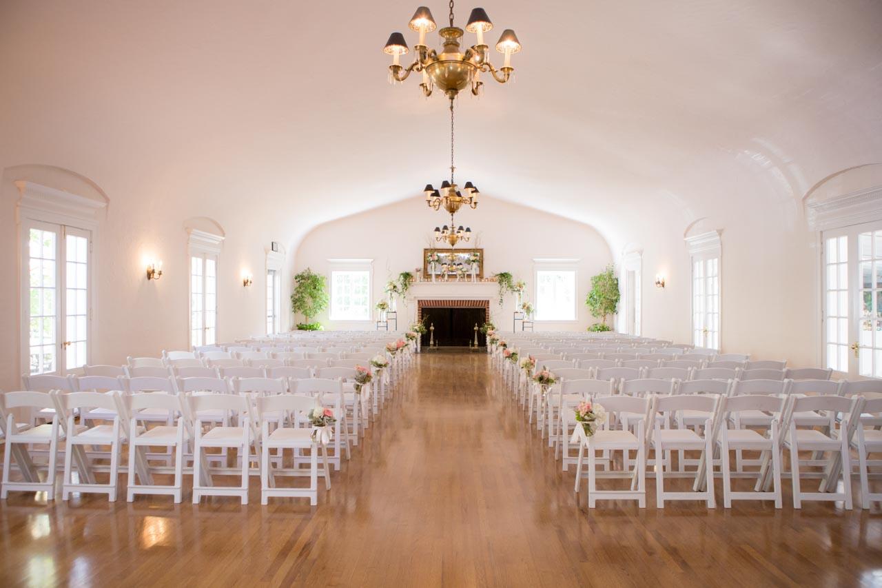 Indoor wedding ceremony at Memorial House.