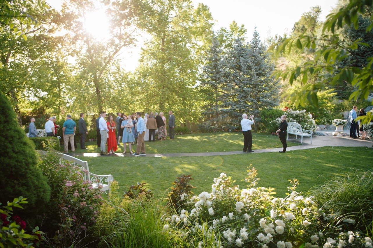 Wedding reception in the gardens at Millennial Falls.
