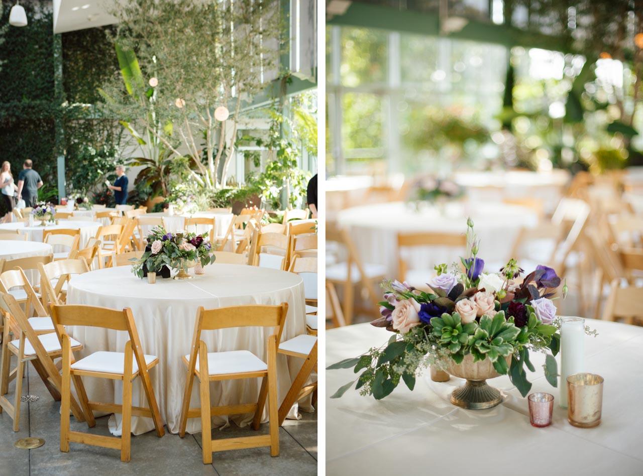 Reception decor in the Orangerie at Red Butte Gardens.