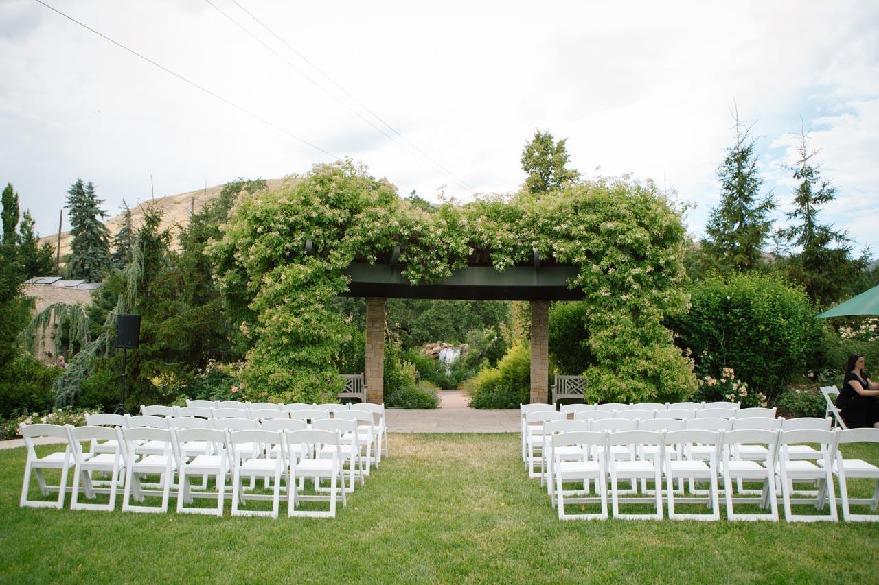 Wedding ceremony setup in the Rose Garden.