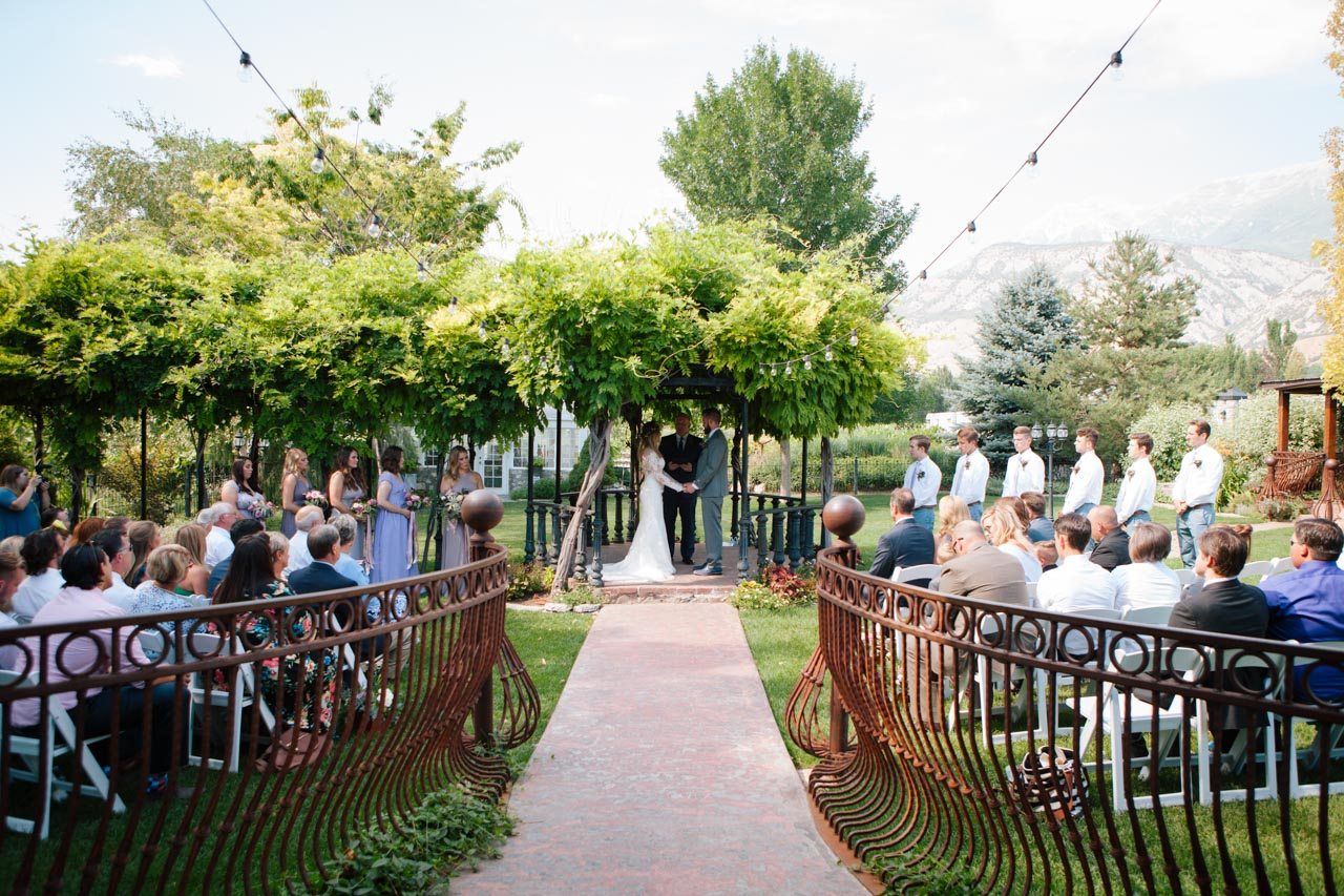 Outdoor garden wedding ceremony at Wadley Farms.