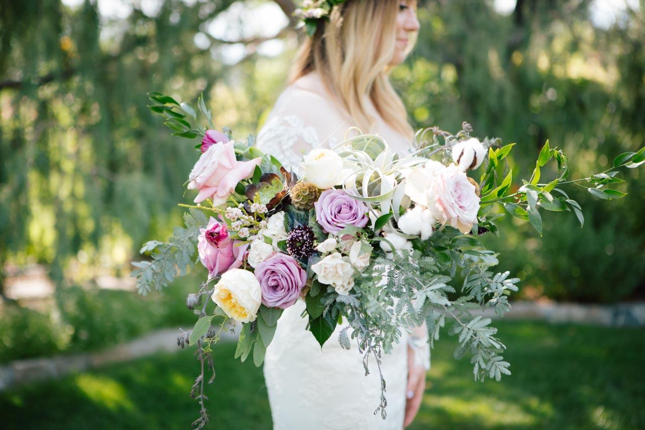 Boho bridal bouquet for a garden wedding.