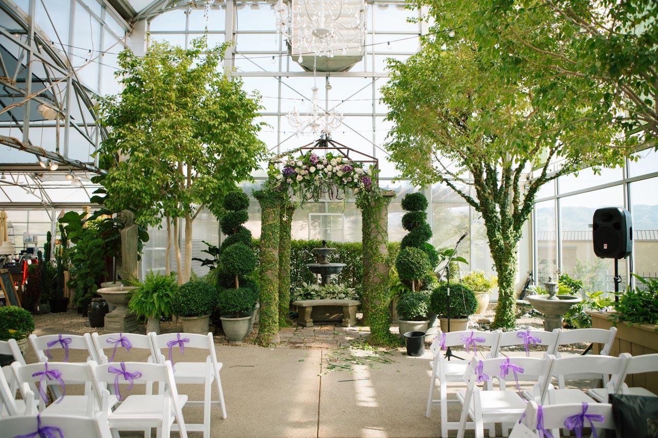Wedding ceremony at Cactus & Tropicals Greenhouse in Draper.