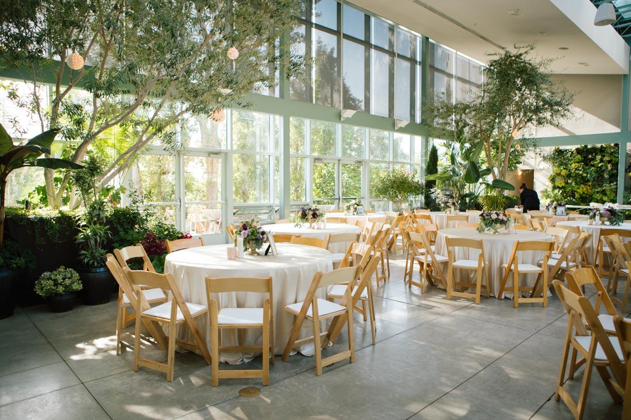 Wedding reception decor in the Orangerie at Red Butte Gardens.