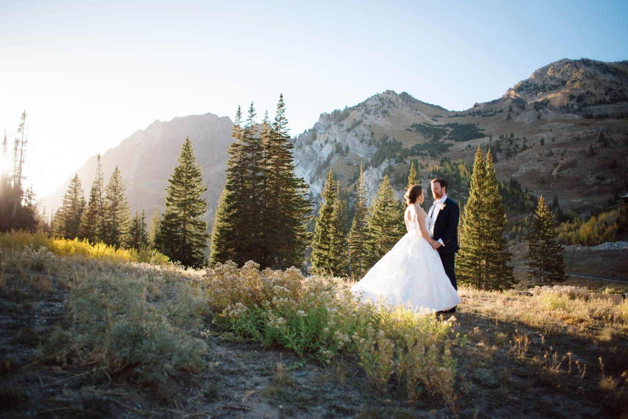 Sunset wedding portraits in the Utah mountains.