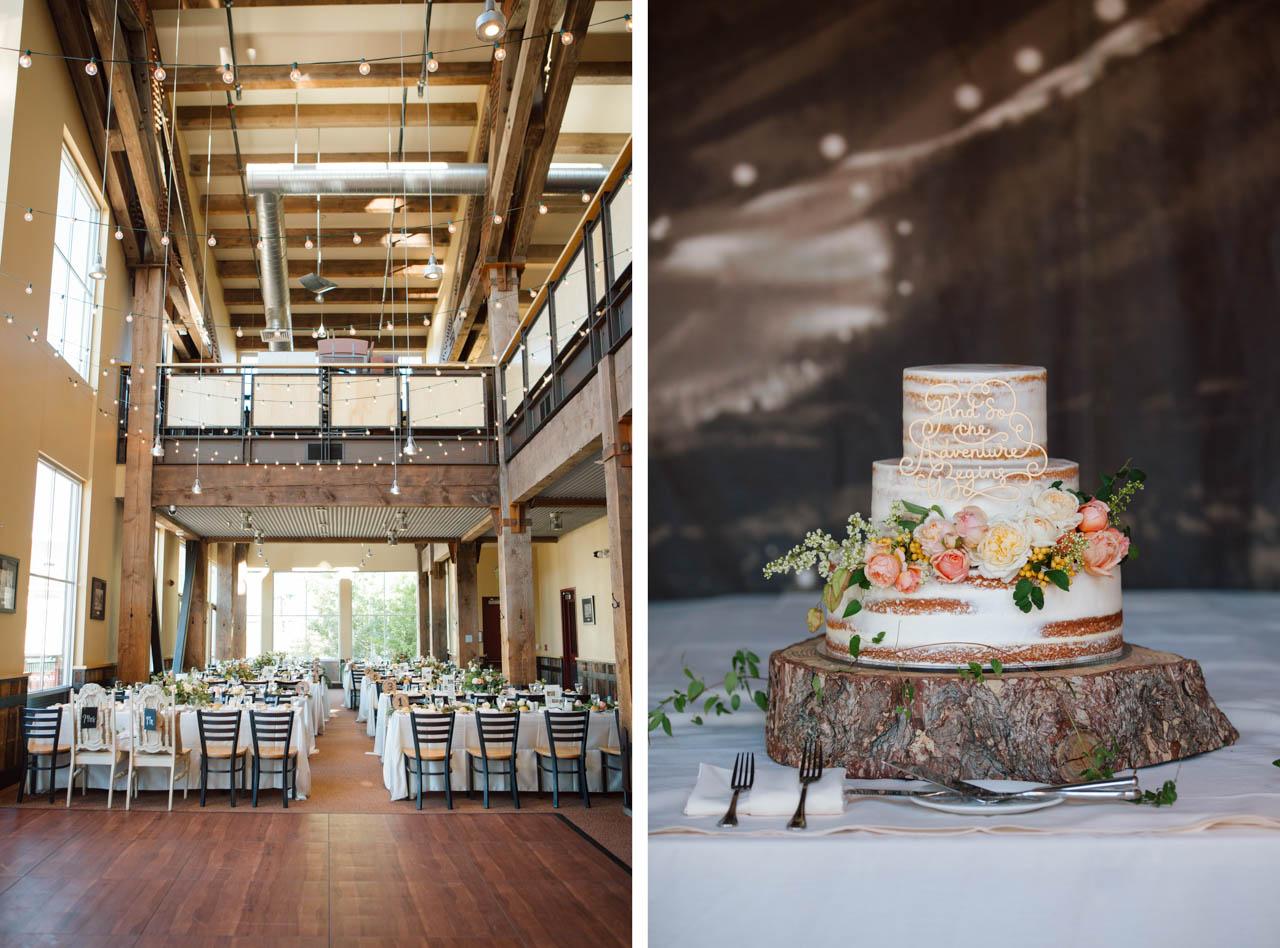 Wedding reception setup inside Legacy Lodge.