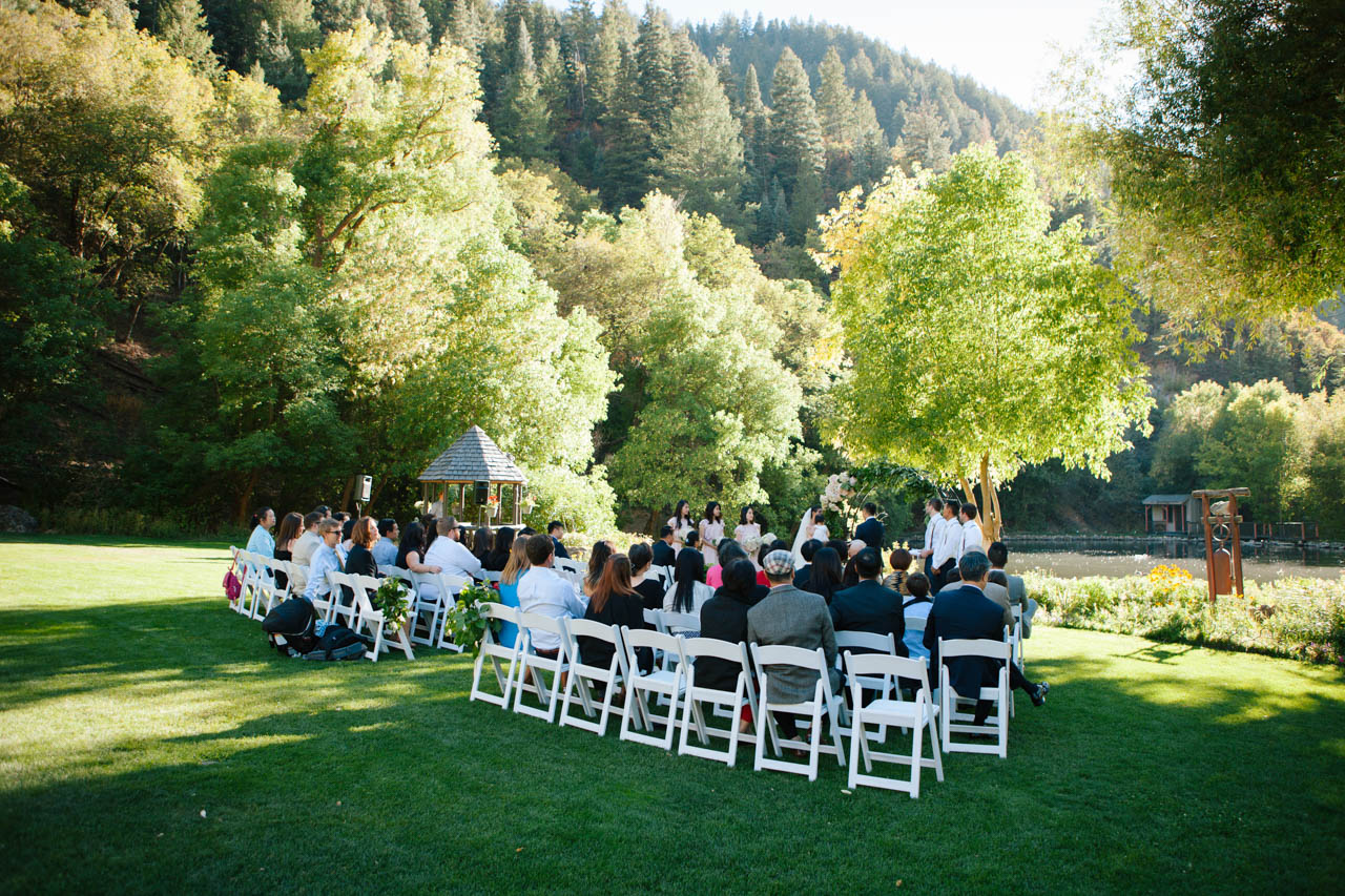 Wedding ceremony in the Meadow at Log Haven.