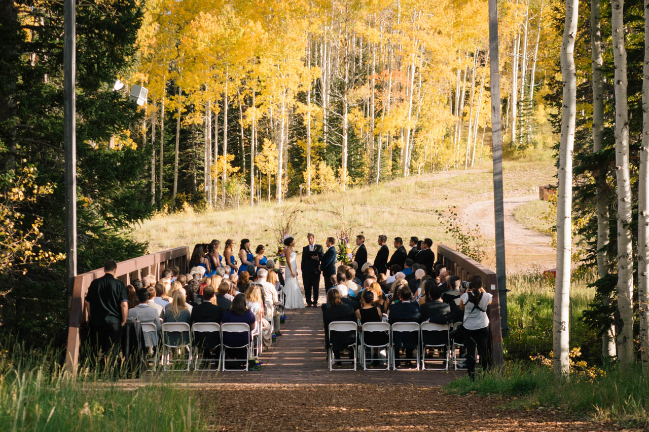 Outdoor fall ceremony at Red Pine Lodge.