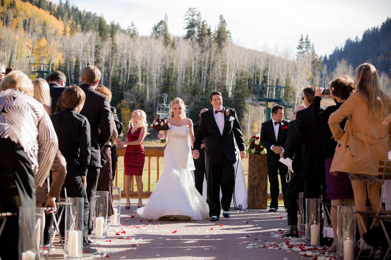 Outdoor Fall wedding at Silver Lake Lodge.