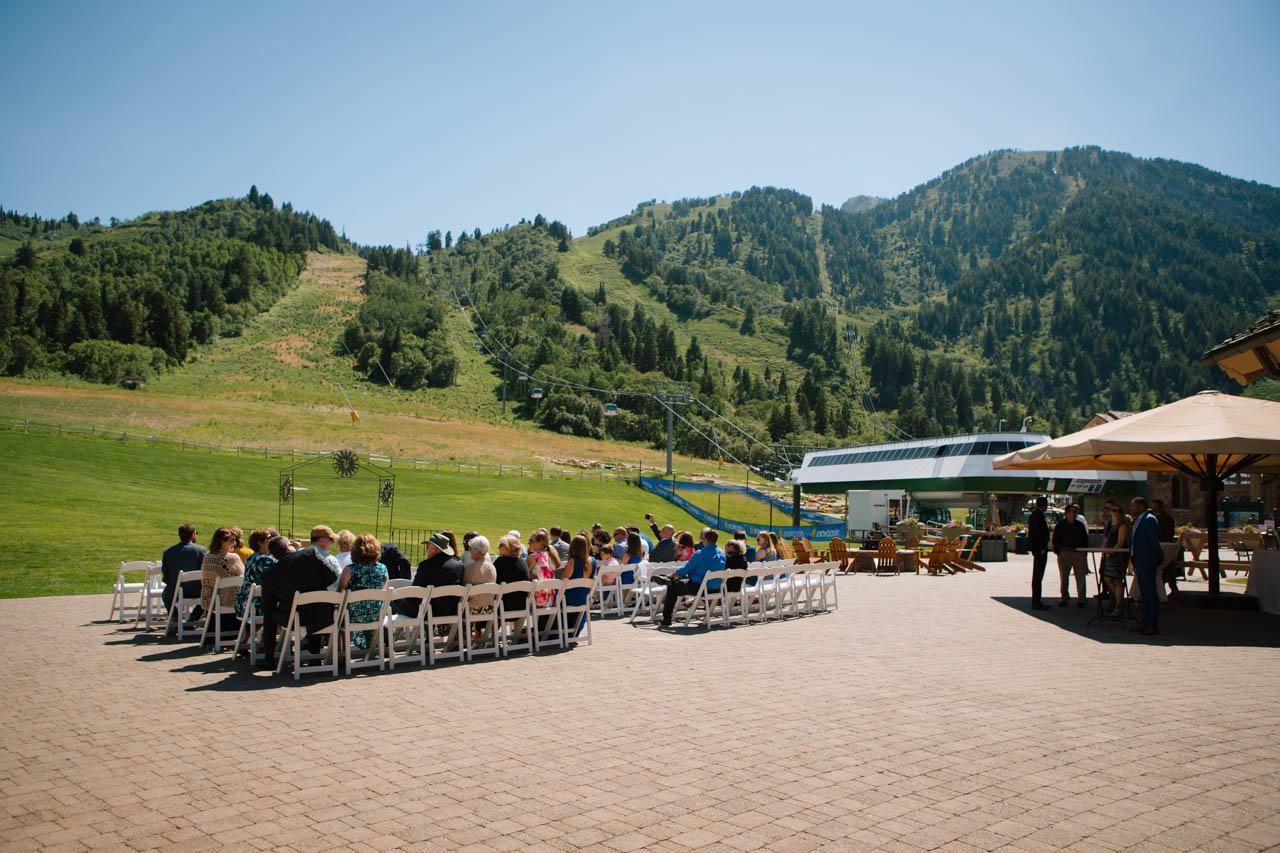 Outdoor wedding ceremony at Snowbasin.