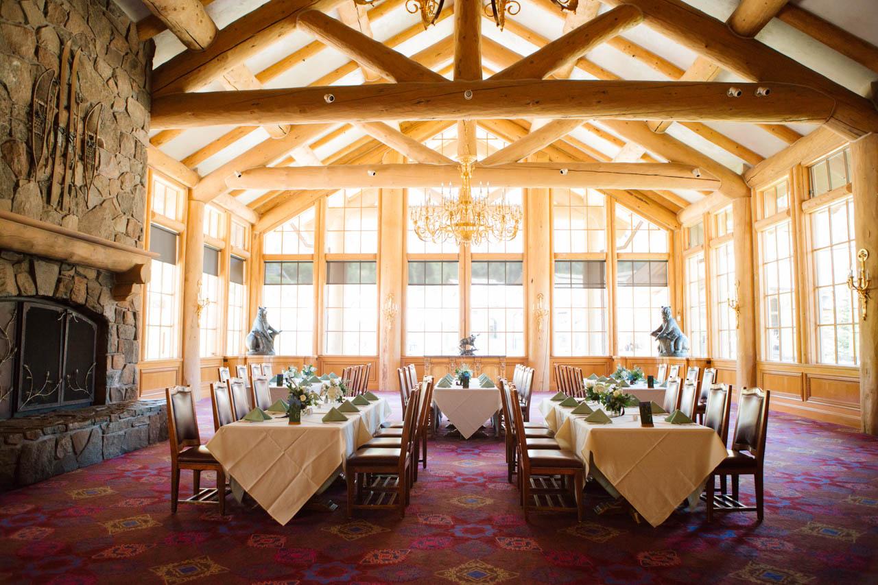 Indoor wedding reception setup at Earl's Lodge.