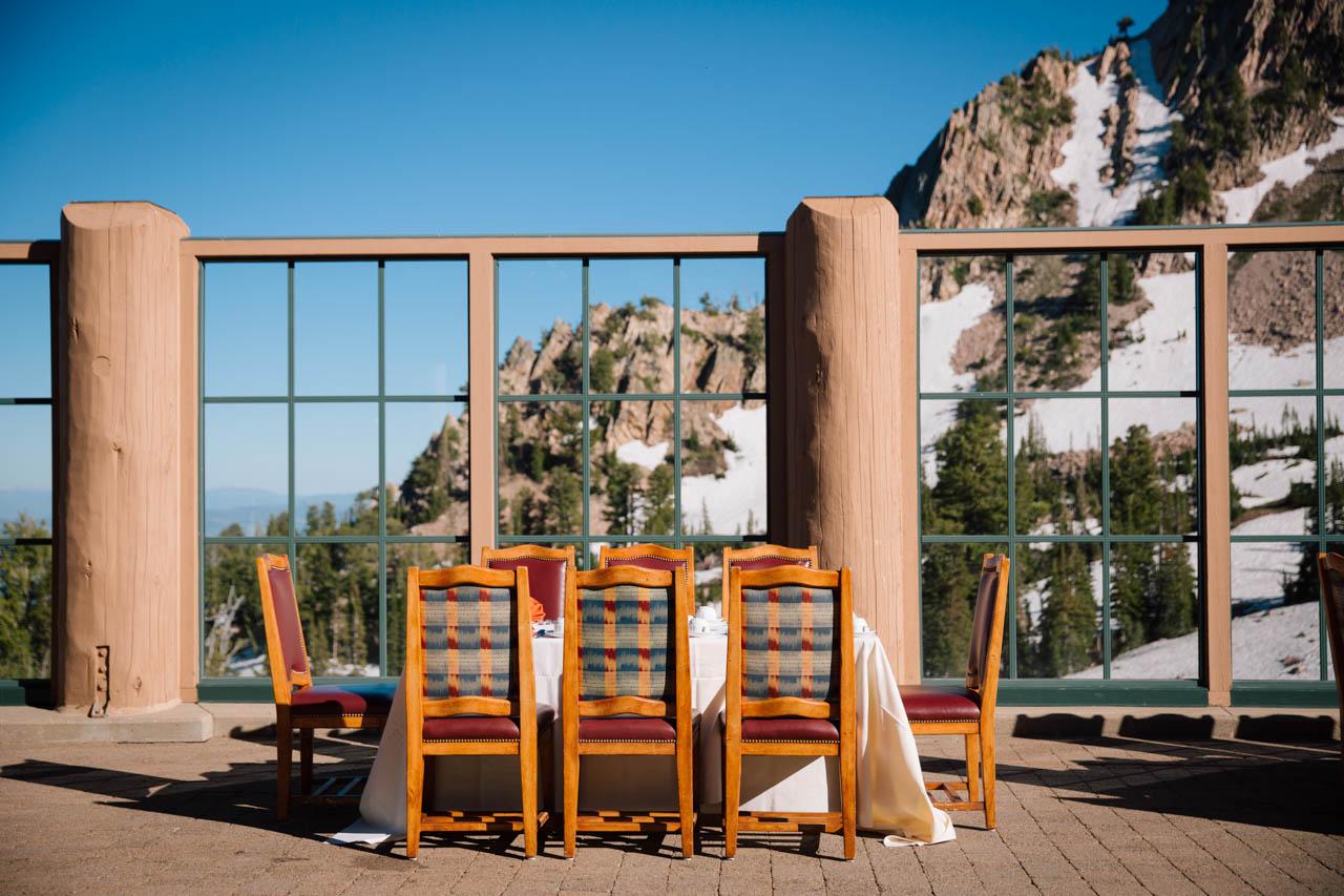 Outdoor seating at Needles Lodge, Snowbasin.