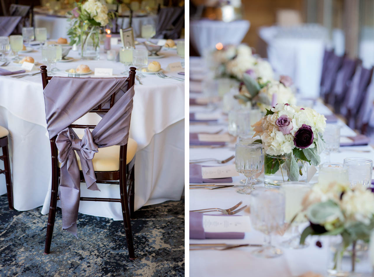 Wedding reception details at Snowbird's Golden Cliff.
