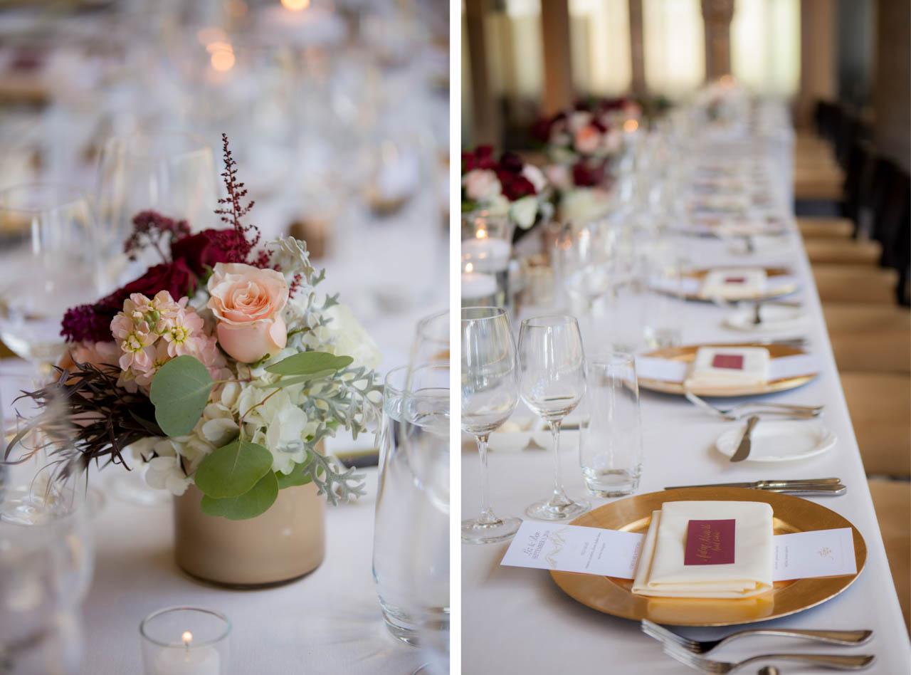 Wedding reception decor at the Aerie.