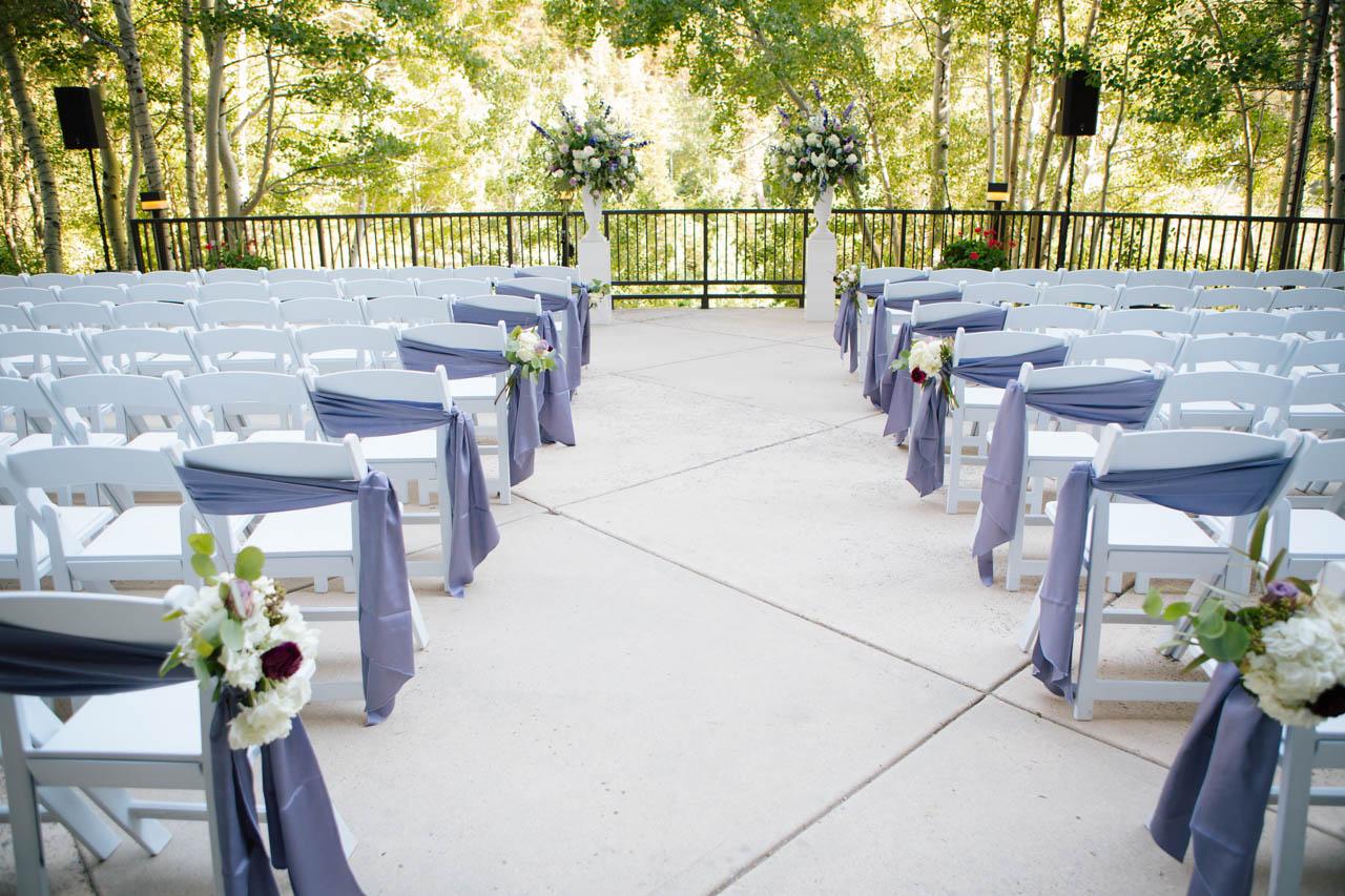 Elegant outdoor wedding ceremony at Snowbird.