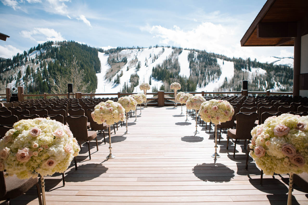 A wedding ceremony on the deck of the Stein Eriksen.